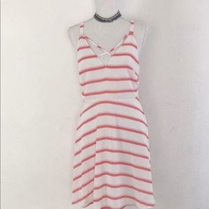 Lush Sleeveless Striped White/Red Dress Size L